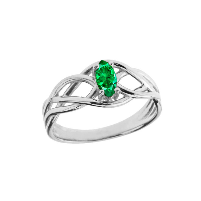 Celtic Knot Lab Created Emerald Ring in White Gold