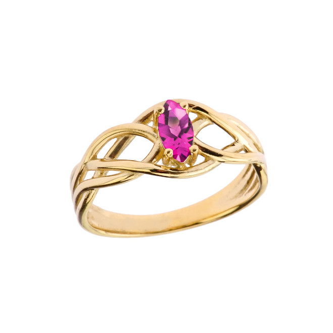 Celtic Knot Lab Created Alexandrite Ring in Yellow Gold
