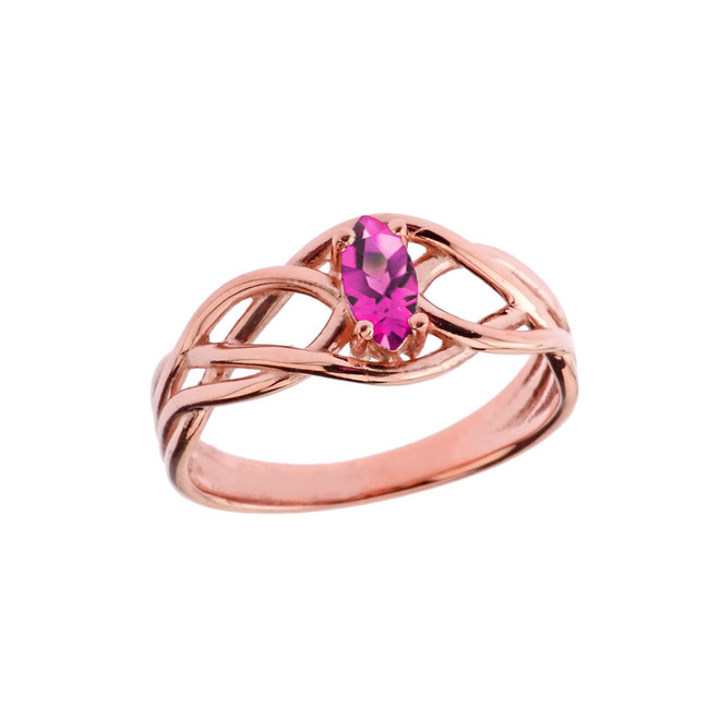 Celtic Knot Lab Created Alexandrite Ring in Rose Gold