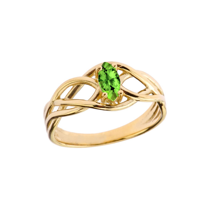 Celtic Knot Lab Created Peridot Ring in Yellow Gold