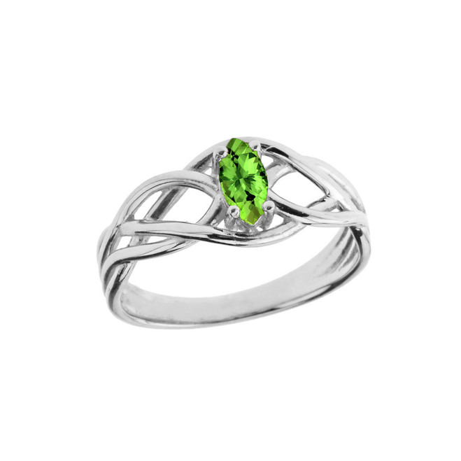 Celtic Knot Lab Created Peridot Ring in White Gold
