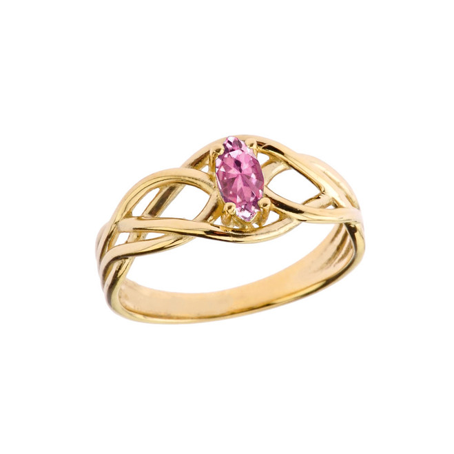 Celtic Knot Pink Cubic Zirconia Ring in Yellow Gold