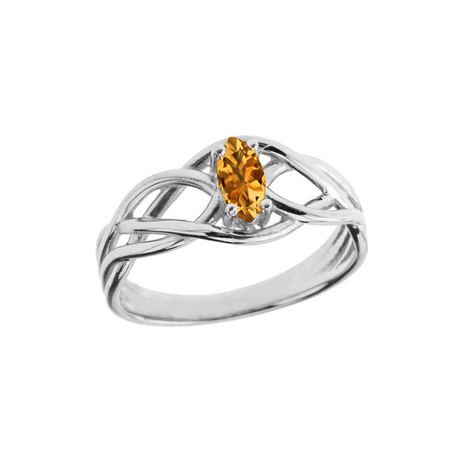 Celtic Knot Lab Created Citrine Ring in White Gold