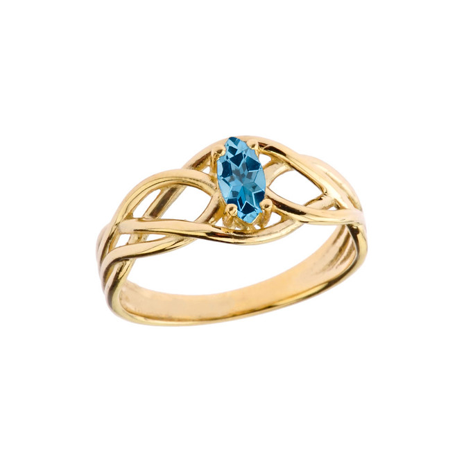 Celtic Knot Lab Created Blue Topaz Ring in Yellow Gold