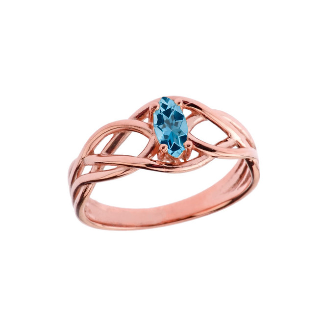 Celtic Knot Lab Created Blue Topaz Ring in Rose Gold