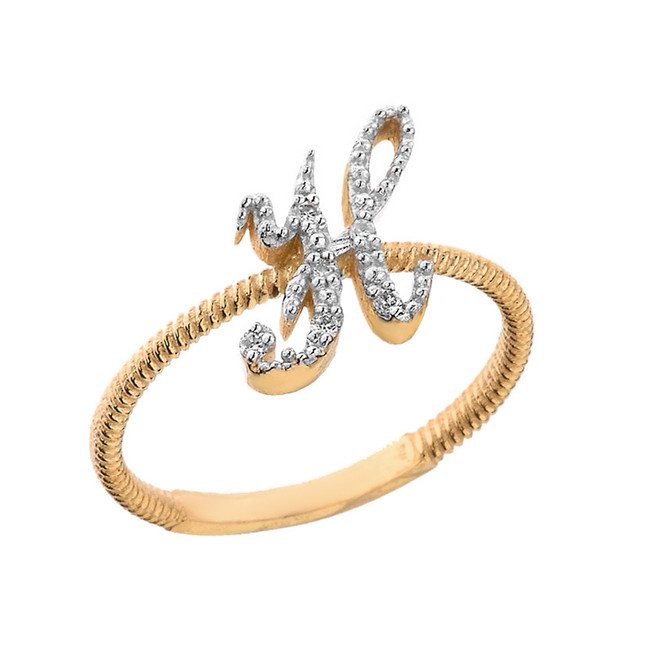 """Solid Yellow Gold Script Initial """"H"""" Stackable Diamond Ring"""