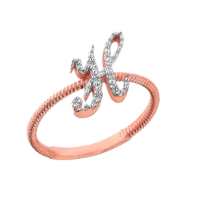 """Solid Rose Gold Script Initial """"H"""" Stackable Diamond Ring"""