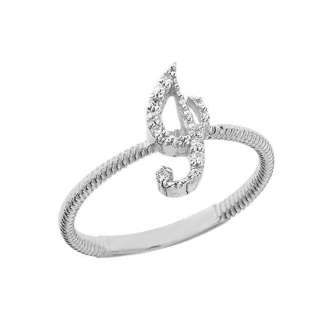 """Solid White Gold Script Initial """"I"""" Stackable Diamond Ring"""