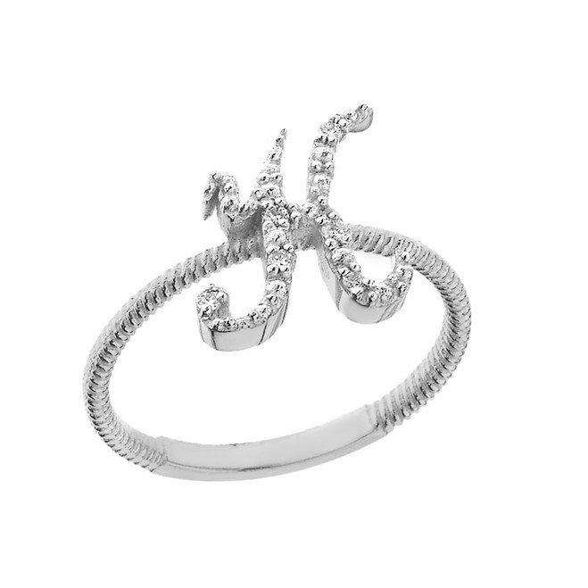 """Solid White Gold Script Initial """"K"""" Stackable Diamond Ring"""