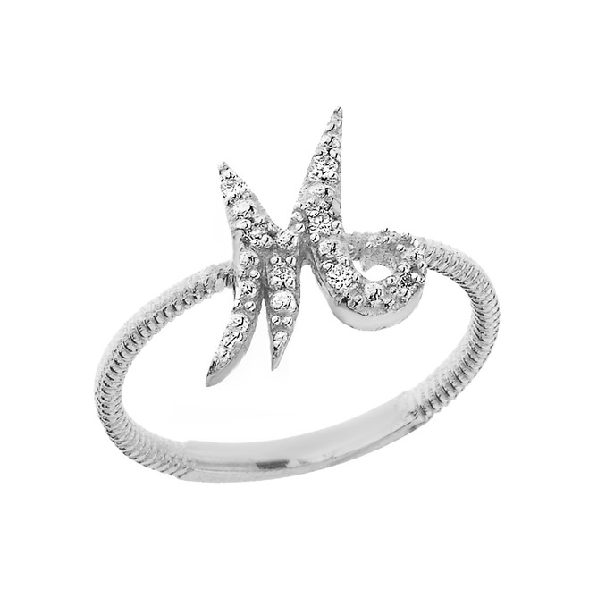 """Sterling Silver Script Initial """"M"""" Stackable CZ Ring"""