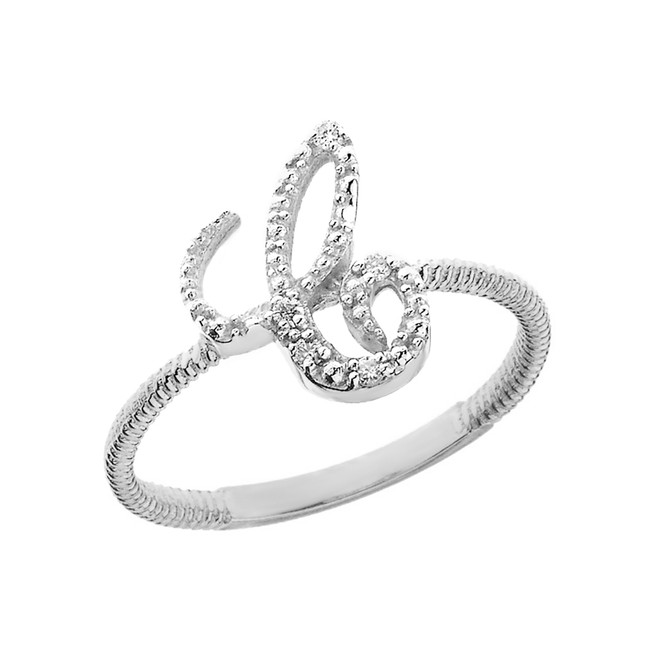 """Sterling Silver Script Initial """"C"""" Stackable CZ Ring"""