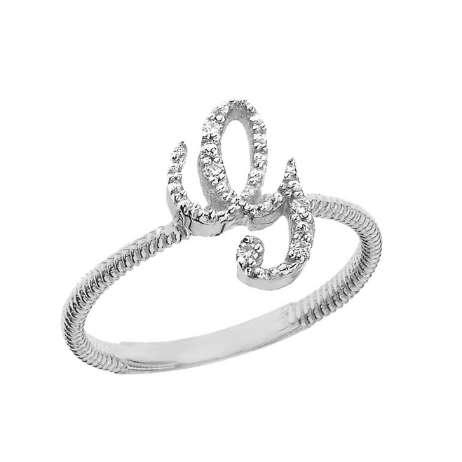 """Sterling Silver Script Initial """"G"""" Stackable CZ Ring"""