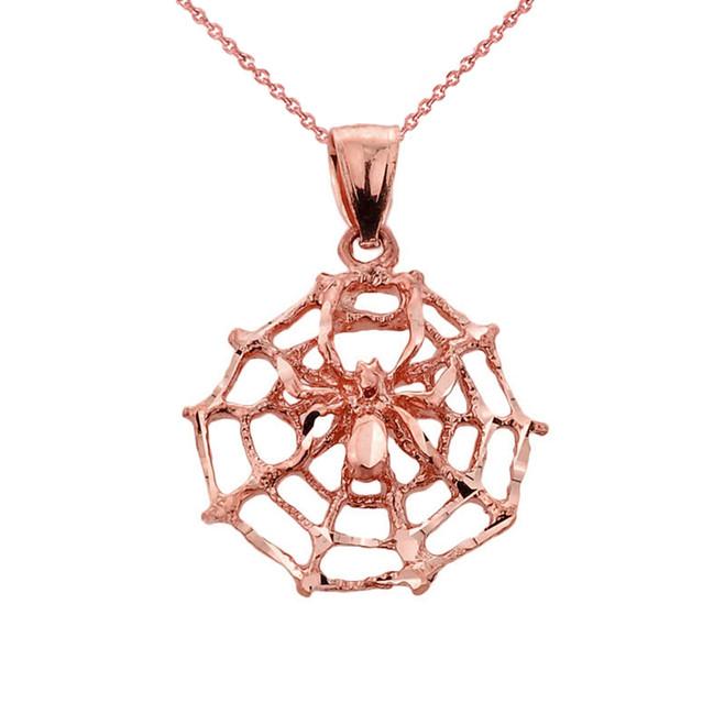 Rose Gold Spider Web Charm Pendant Necklace