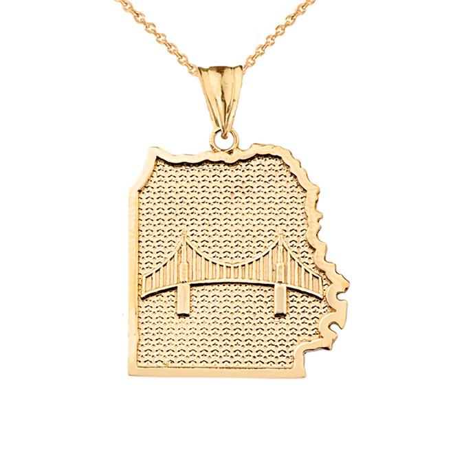 San Francisco Golden Gate Bridge Pendant Necklace in Yellow Gold