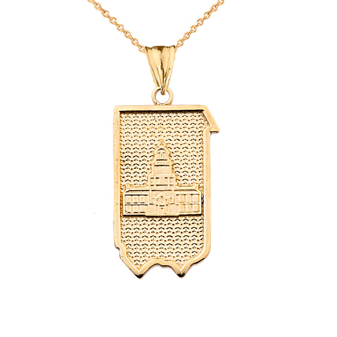 Pennsylvania State of Independence Pendant Necklace in Yellow Gold