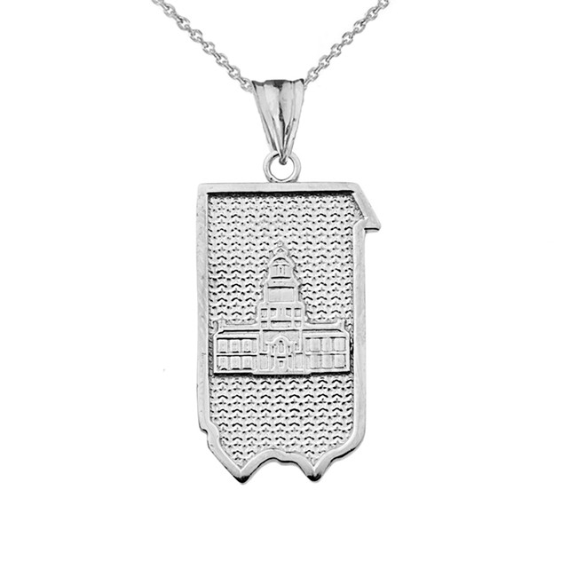 Pennsylvania State of Independence Pendant Necklace in White Gold