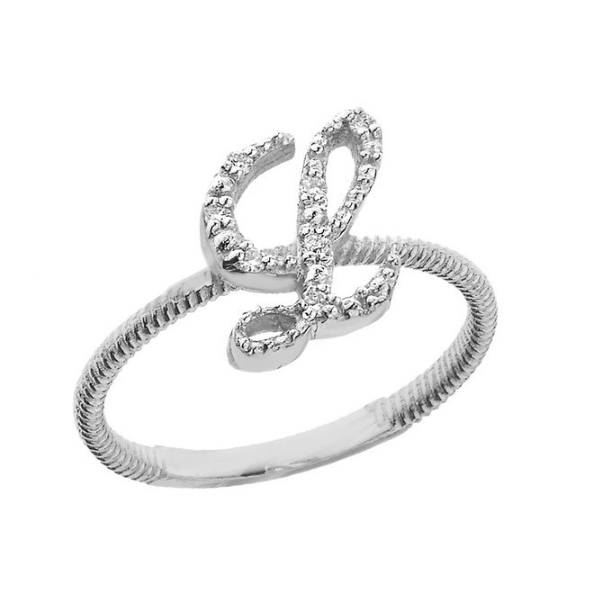 """Sterling Silver Script Initial """"L"""" Stackable CZ Ring"""