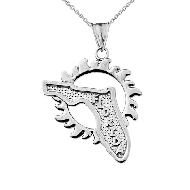 Florida Sunshine State Pendant Necklace in White Gold