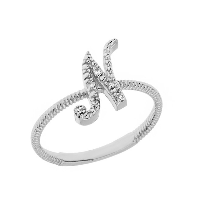 """Solid White Gold Script Initial """"N"""" Stackable Diamond Ring"""