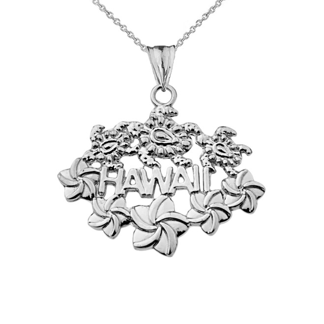 Aloha State Hawaii Pendant Necklace in White Gold
