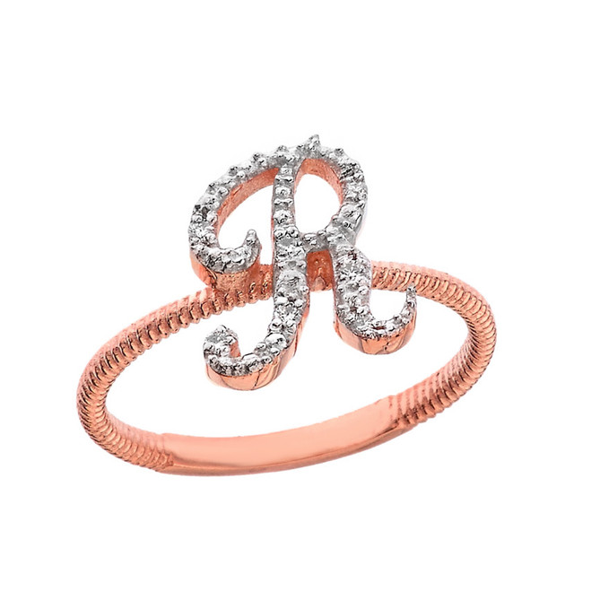 """Solid Rose Gold Script Initial """"R"""" Stackable Diamond Ring"""