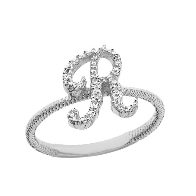 """Solid White Gold Script Initial """"R"""" Stackable Diamond Ring"""