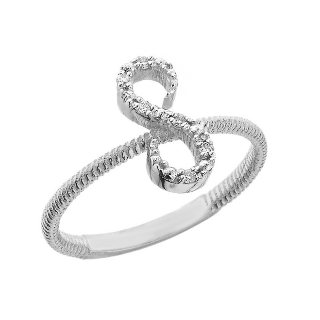 """Solid White Gold Script Initial """"S"""" Stackable Diamond Ring"""