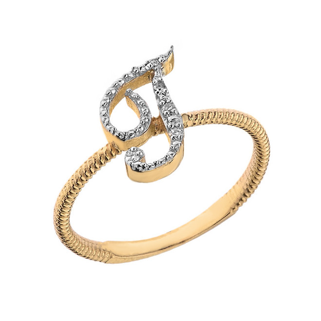 """Solid Yellow Gold Script Initial """"T"""" Stackable Diamond Ring"""
