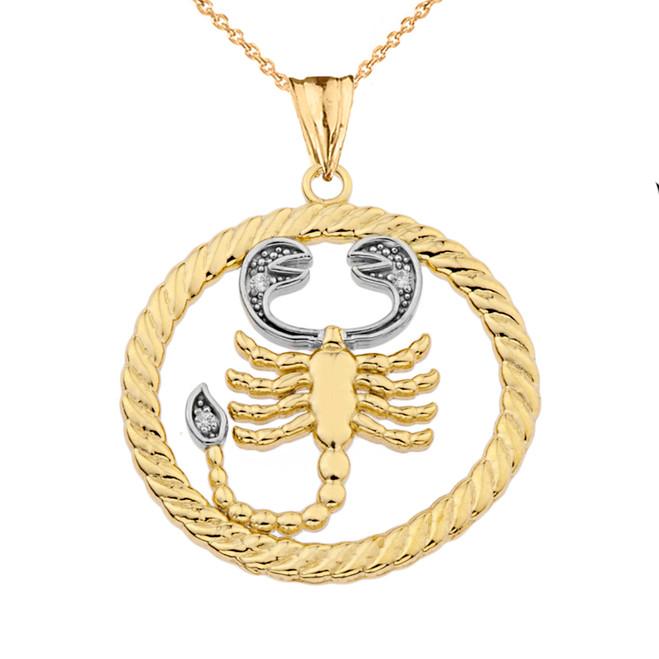Diamond Scorpio Zodiac in Rope Pendant Necklace in Yellow Gold