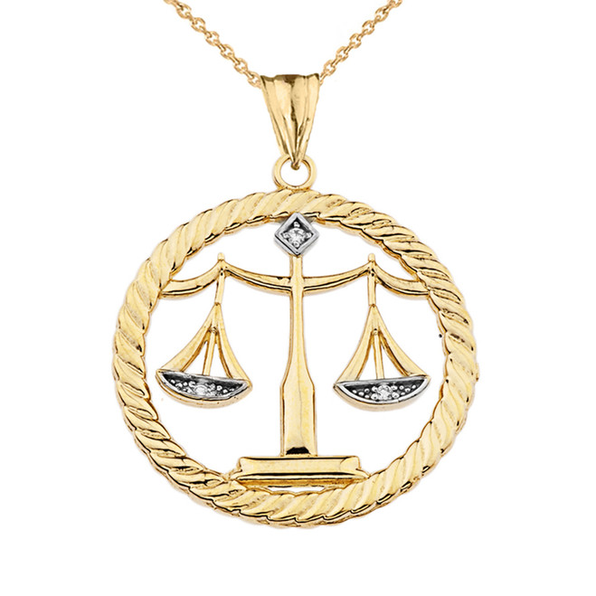 Diamond Libra Zodiac in Rope Pendant Necklace in Yellow Gold
