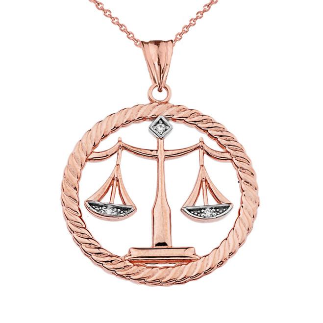 Diamond Libra Zodiac in Rope Pendant Necklace in Rose Gold