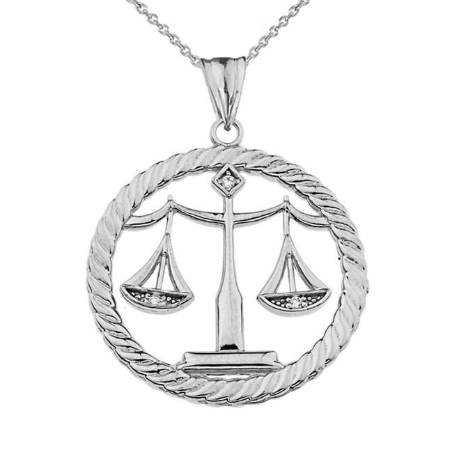 Diamond Libra Zodiac in Rope Pendant Necklace in White Gold