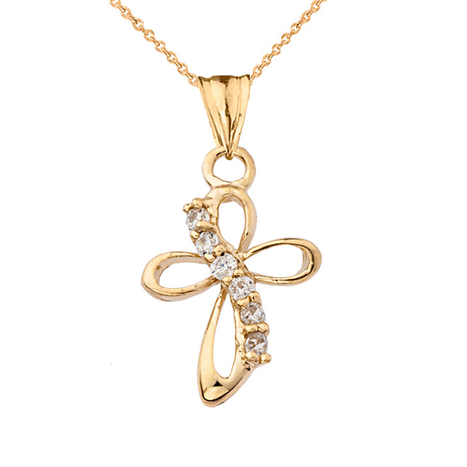 Dainty Modern Cross Cubic Zirconia Pendant Necklace in Yellow Gold