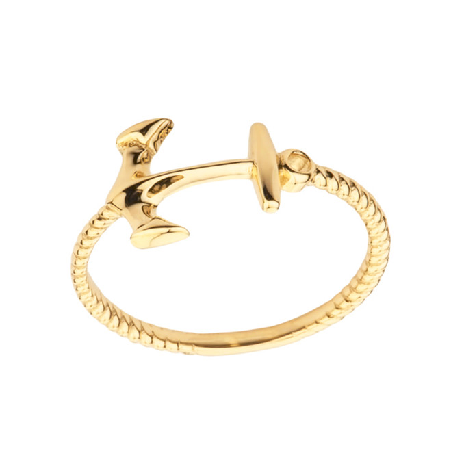Dainty Sideways Anchor Rope Ring in Yellow Gold