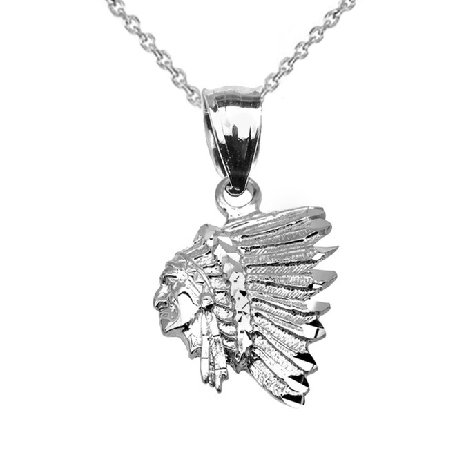 White Gold Native American Indian Head Pendant Necklace