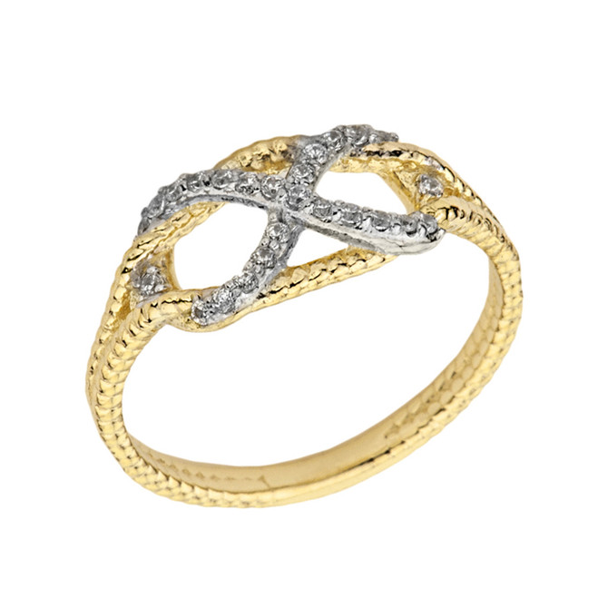 Infinity In-Rope Cubic Zirconia Ring In Yellow Gold