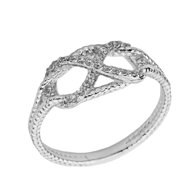 Infinity In-Rope Cubic Zirconia Ring In White Gold