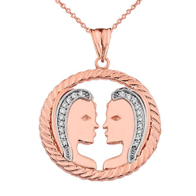 Diamond Gemini Zodiac in Rope Pendant Necklace in Rose Gold