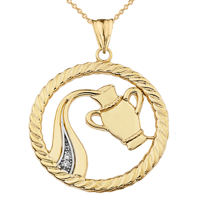 Diamond Aquarius Zodiac in Rope Pendant Necklace in Yellow Gold