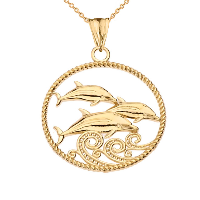 Roped Dolphin Trio Pendant Necklace in Yellow Gold