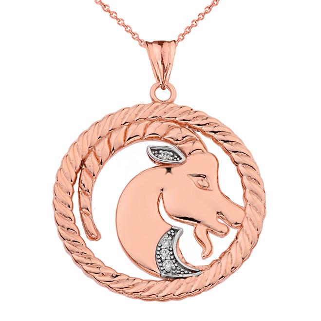 Diamond Capricorn  Zodiac In Rope Pendant Necklace In Rose Gold