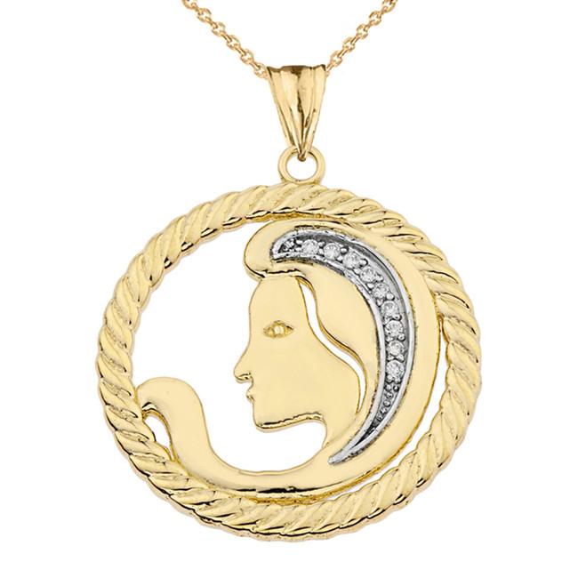 Diamond Virgo Zodiac In Rope Pendant Necklace In Yellow Gold