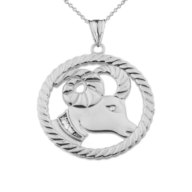 Diamond Aries Zodiac In Rope Pendant Necklace In White Gold