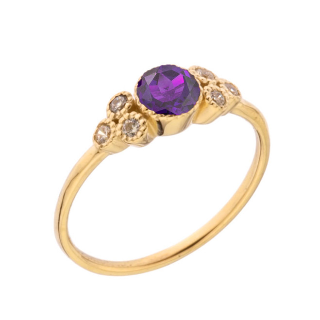 Dainty Chic Genuine Amethyst and White Topaz Promise Ring in Yellow Gold