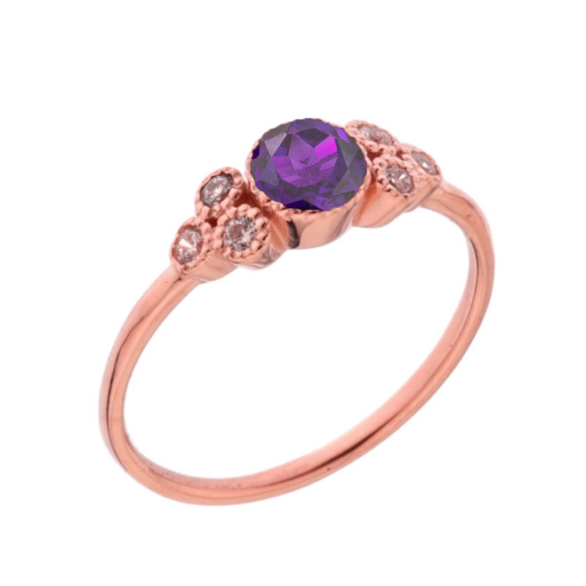 Dainty Chic Genuine Amethyst and White Topaz Promise Ring in Rose Gold