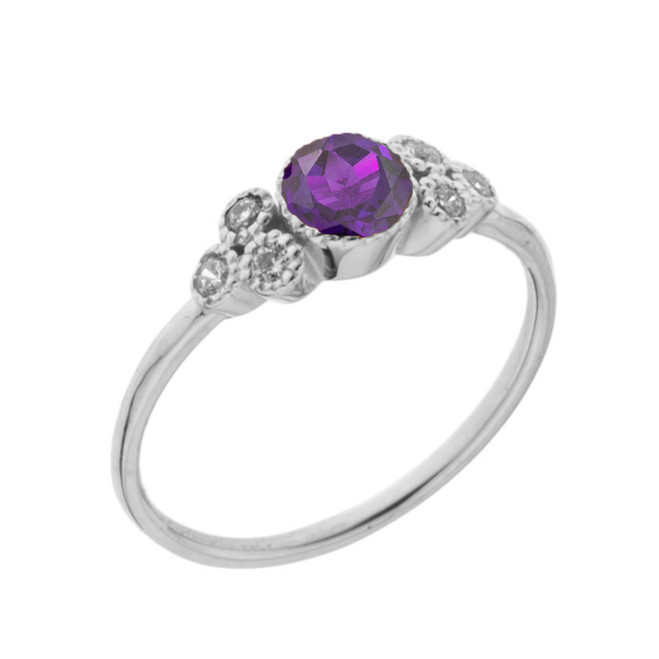 Dainty Chic Genuine Amethyst and White Topaz Promise Ring in White Gold