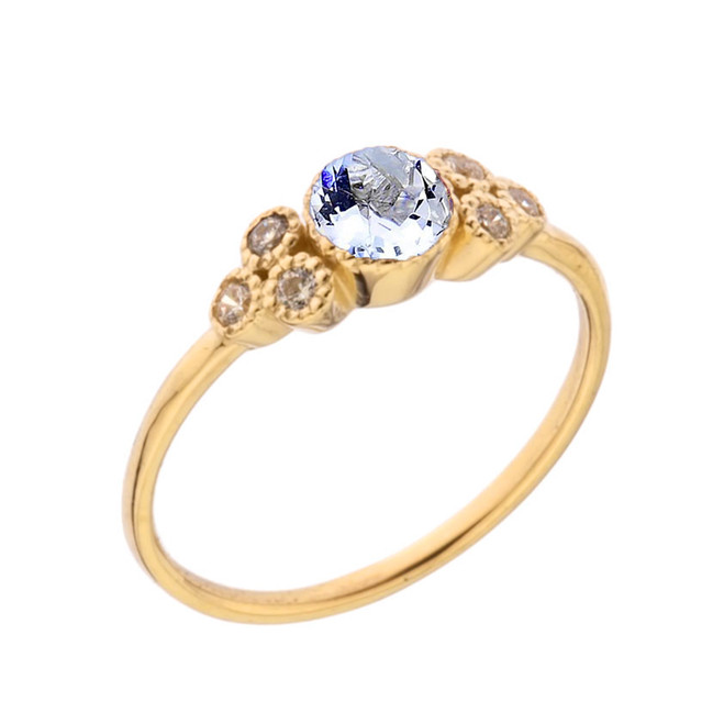 Dainty Chic Genuine Aquamarine and White Topaz Promise Ring in Yellow Gold