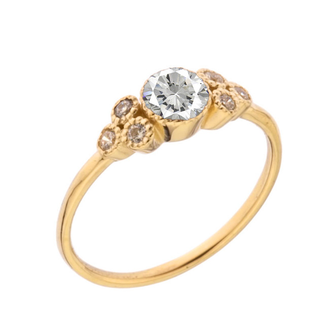 Dainty Chic Cubic Zirconia and White Topaz Promise Ring in Yellow Gold
