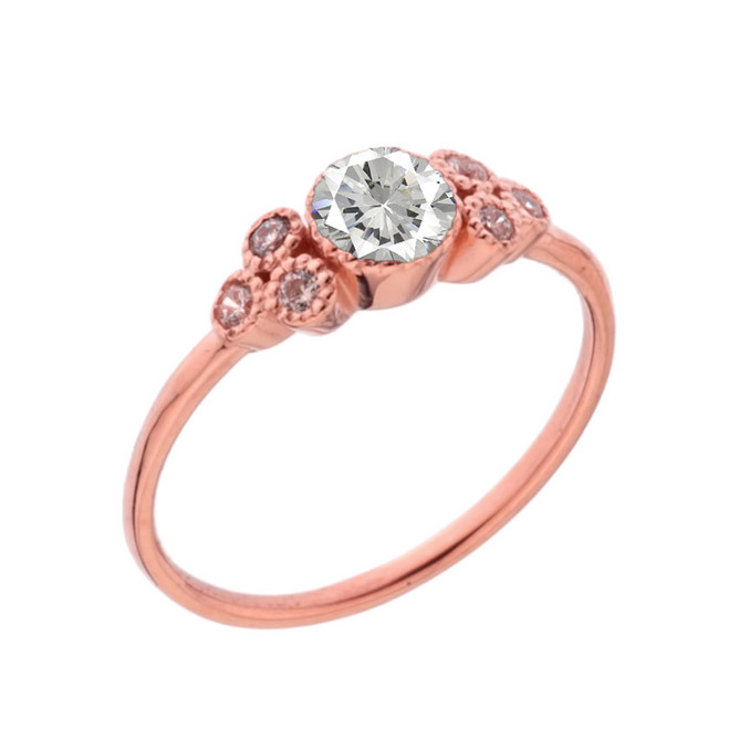Dainty Chic Cubic Zirconia and White Topaz Promise Ring in Rose Gold