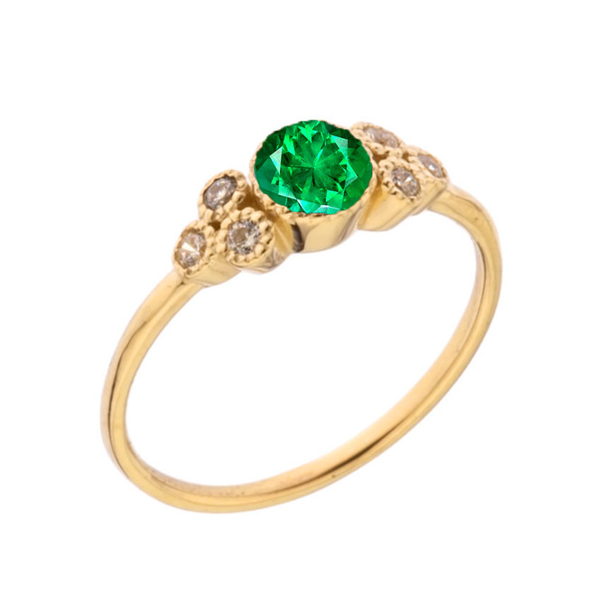 Dainty Chic Lab Created Emerald and White Topaz Promise Ring in Yellow Gold